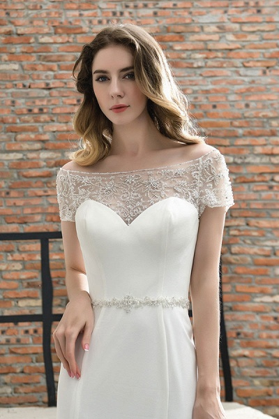 Short Sleeve Mermaid Satin Lace Wedding Dress_10