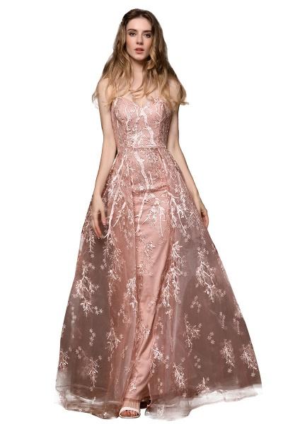 Dusty Pink Spaghetti Strap A-line Lace Prom Dress_5