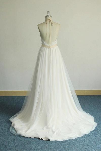 Elegant Halter Lace Tulle A-line Wedding Dress_3