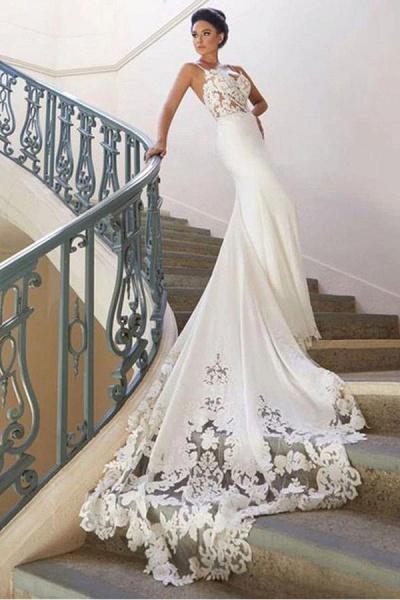 Precious Spaghetti Strap Lace Mermaid Wedding Dress_4