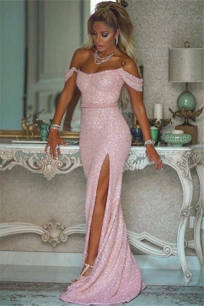Elegant Off-the-shoulder Sequined Column Evening Dress_1