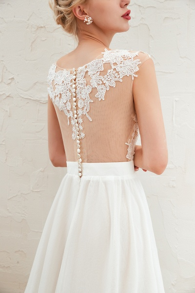 High Slit Appliques Chiffon A-line Wedding Dress_12