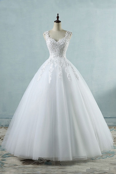 Lace-up Appliques Tulle A-line Wedding Dress_1