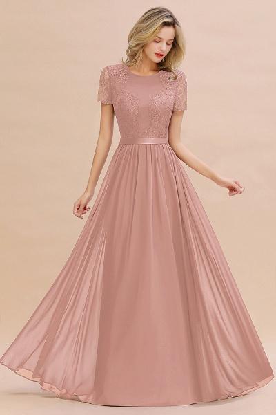 BM0831 Chiffon Lace Scoop Short Sleeve Bridesmaid Dress_6