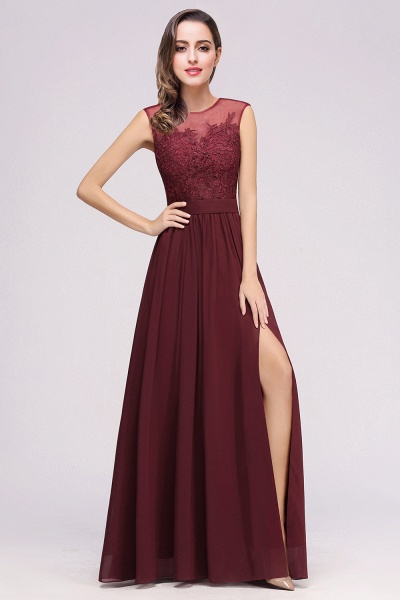 Lace Chiffon Floor-Length A-line Bridesmaid Dress_4