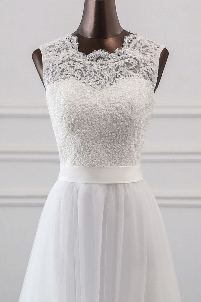 Graceful Lace-up Tulle A-line Wedding Dress_5