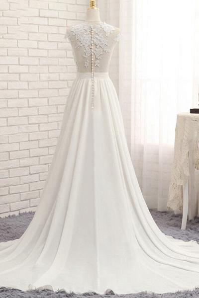 Front Slit Appliques Chiffon A-line Wedding Dress_3