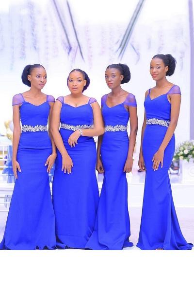 Latest Cap Sleeve Tulle Sheath Bridesmaid Dress_1
