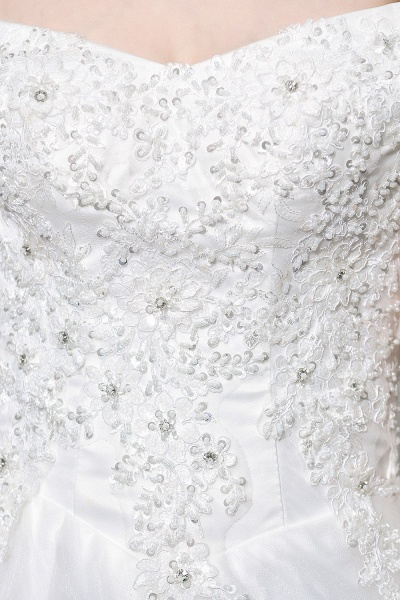 Lace  Off the Shoulder Beading Mermaid Wedding Dress_11