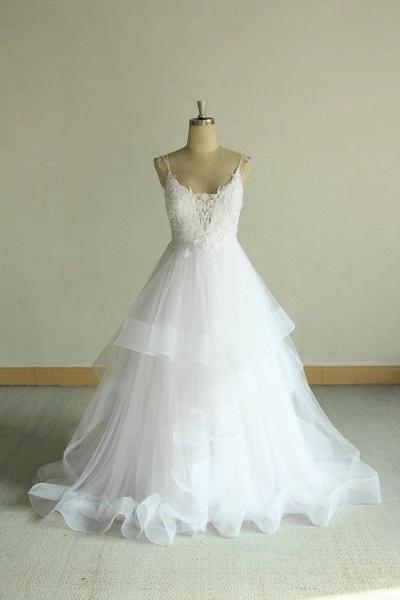 Chic Strap Spaghetti Appliques Tulle Wedding Dress_1