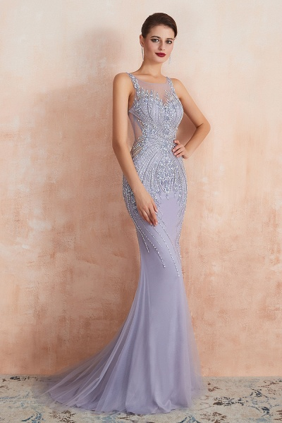 Graceful Jewel Tulle Mermaid Prom Dress_8