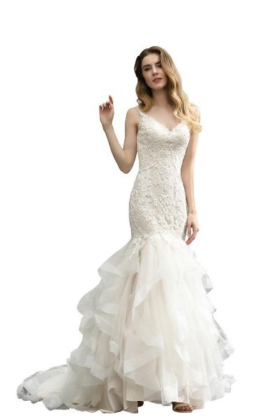 Mermiad Sweetheart Floral Lace Floor Length Wedding Dress_3