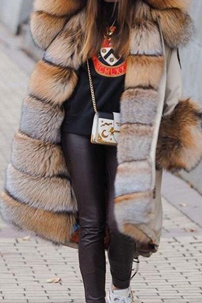 Winter Fur-trimmed Long Faux Fur Coat_6