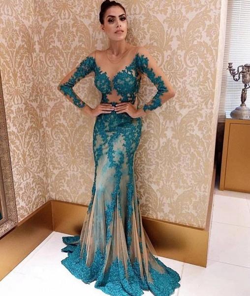 Fascinating Jewel Lace Column Prom Dress_2