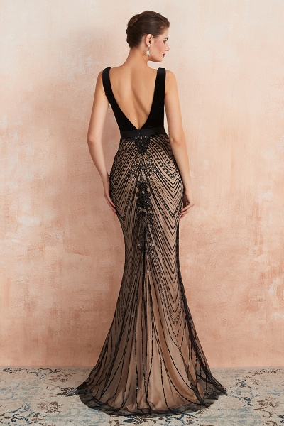 Exquisite V-neck Lace Mermaid Prom Dress_7