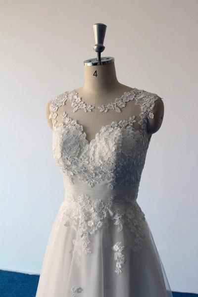 Illusion Lace Tulle A-Line Mini Wedding Dress_5