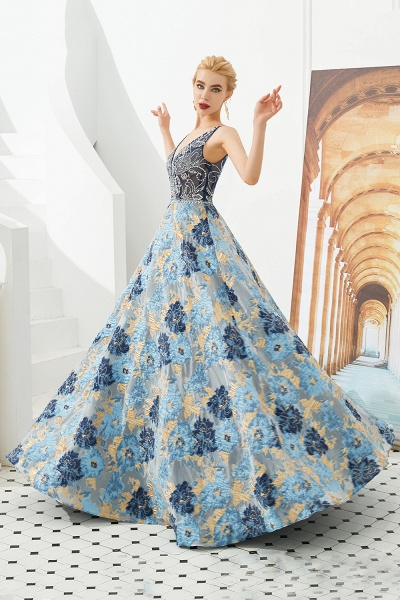 Beautiful V-neck Satin A-line Prom Dress_3