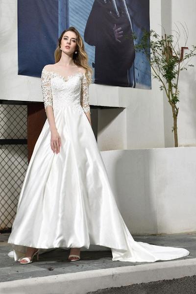 Elegant Lace-up A-Line Applique Satin Wedding Dress_8