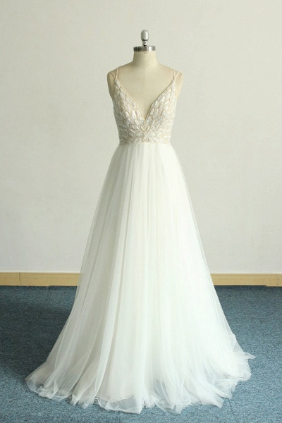 Chic Strap Spaghetti Appliques Tulle Wedding Dress_1