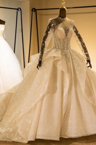 Long Sleeve Beading Lace-up Tulle Wedding Dress_4