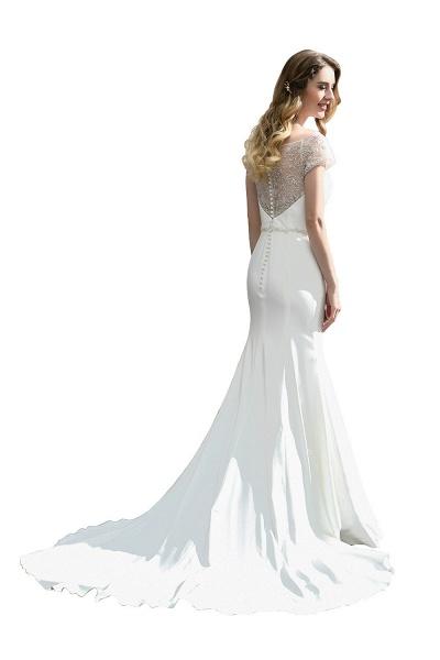 Short Sleeve Lace Mermaid Pearls Wedding Dress With Belt_9