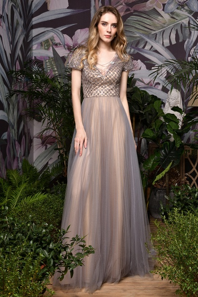 Stunning Short Sleeves Squared Sequined Tulle Prom Dress_8