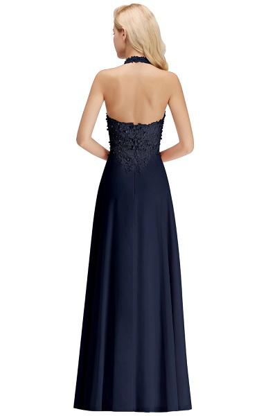 Halter Composite Emulation Silk A-line Floor Length Bridesmaid Dress_22