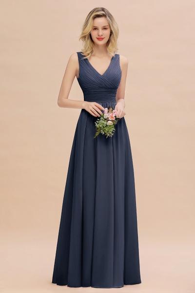 BM0752 Elegant A-line V-Neck Ruffles Long Bridesmaid Dress_39