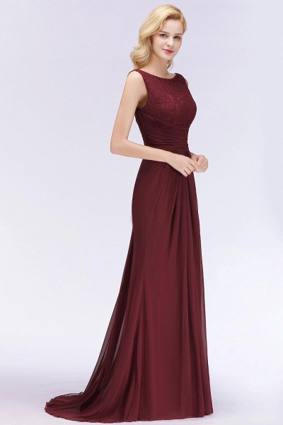Mermaid Burgundy Chiffon Ruffles Evening Dress_3