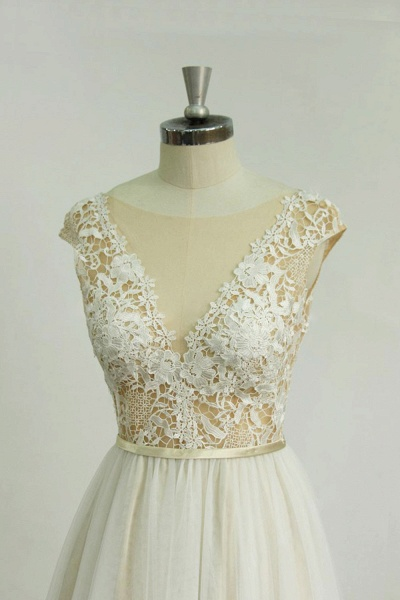 Chic Cap Sleeve Lace Tulle A-line Wedding Dress_4