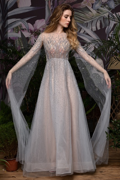 Luxury Shawl Sequined A-line Long Prom Dress_2