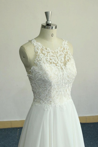 Amazing Appliques Chiffon A-line Wedding Dress_6