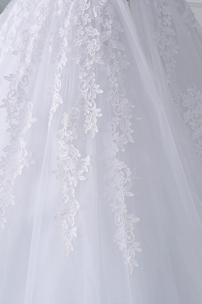Lace-up Off Shoulder Appliques Tulle Wedding Dress_7