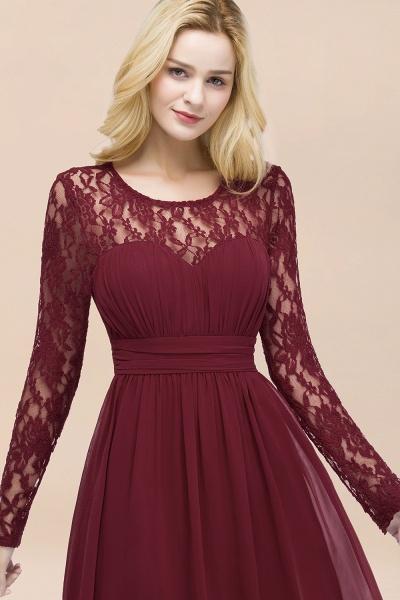 Elegant A-Line Chiffon Jewel Long Sleeves Ruffles Floor-Length Bridesmaid Dresses_54