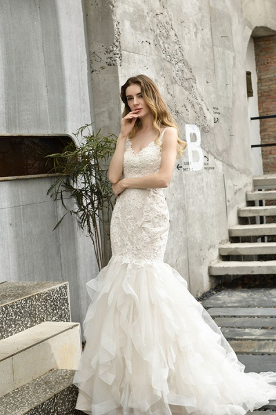 Gorgeous Appliques Mermaid Organza Wedding Dress_10