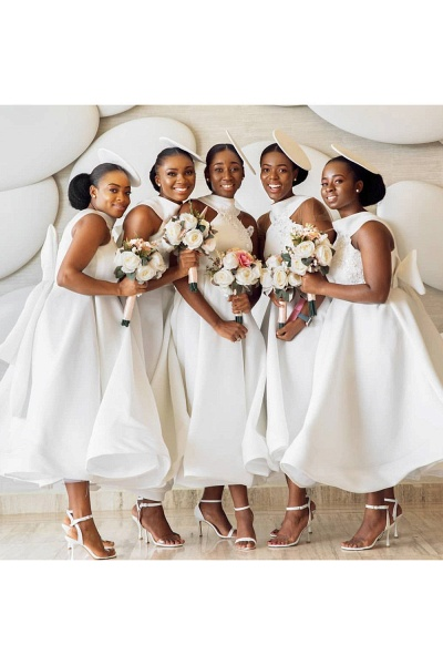 Cute Applqiues Satin A-line Bridesmaid Dress_7