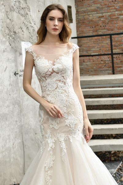 Mermaid Floor Length Lace Tulle Wedding Dresses_6