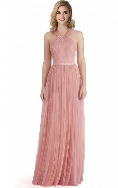 ELLIOTT   Sheath Floor-length Pink Tulle Bridesmaid Dresses with Ribbon Sash_1