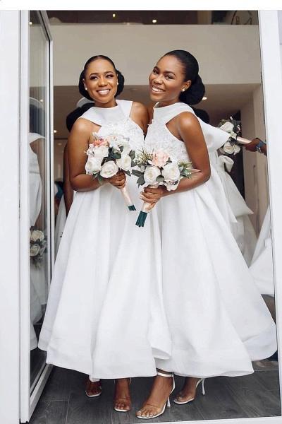 Cute Applqiues Satin A-line Bridesmaid Dress_2