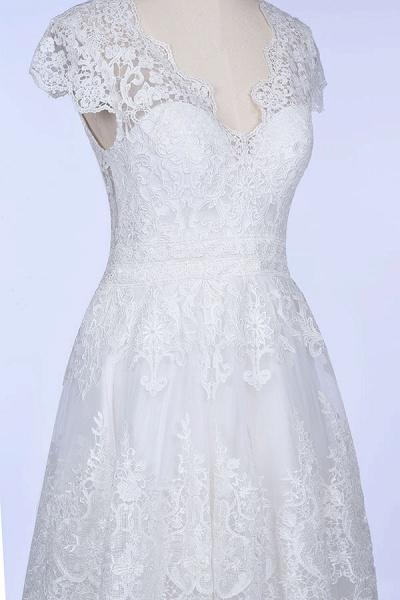 Best Cap Sleeve V-neck Sweep Train Wedding Dress_7