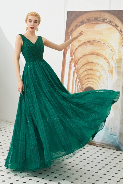 Awesome V-neck Tulle A-line Prom Dress_8