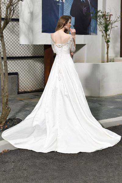 Lace Half Sleeves V Neck Sheer Tulle Wedding Dress_4