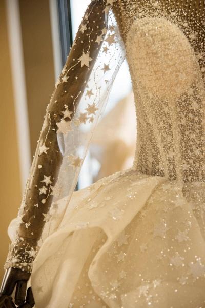 Long Sleeve Beading Lace-up Tulle Wedding Dress_7