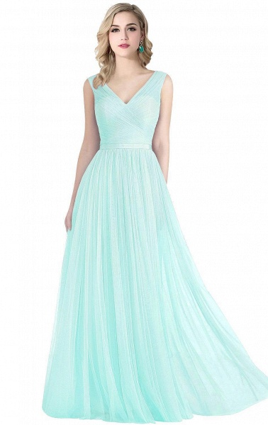 ELLIOT | A-line Sleeveless V-neck Floor-length Tulle Bridesmaid Dresses_3