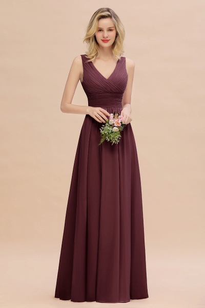 BM0752 Elegant A-line V-Neck Ruffles Long Bridesmaid Dress_47