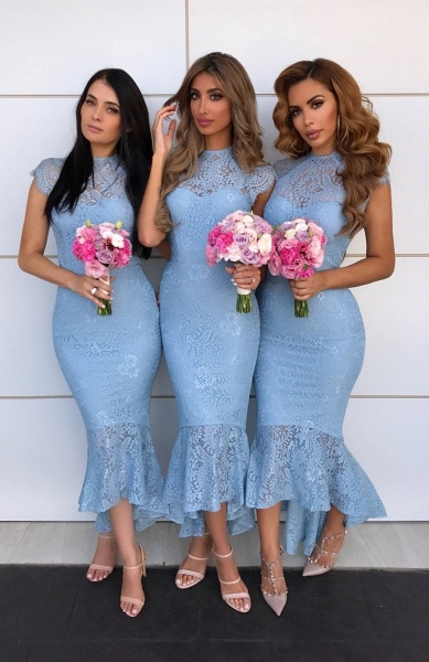 Awesome Lace High-low Mermaid Bridesmaid Dress_2