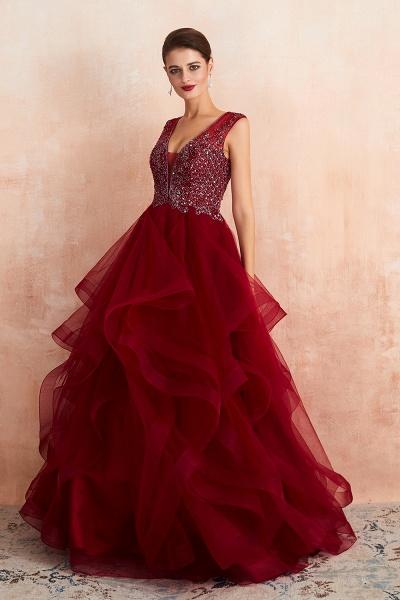 Wonderful V-neck Tulle A-line Prom Dress_6
