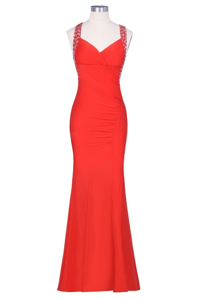 Graceful Straps Spandex Mermaid Evening Dress_5