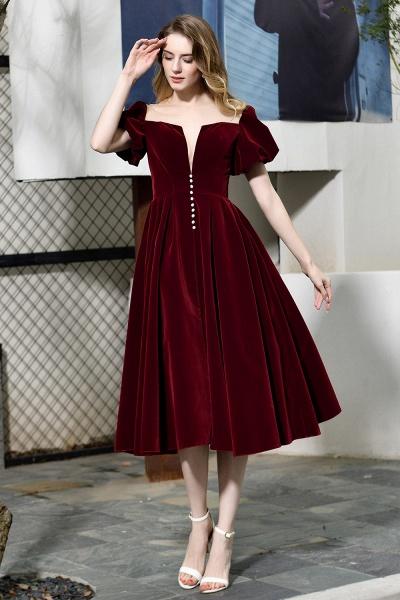 Burgundy Velvet Bubble Sleeve V-neck Short Prom Dress_3