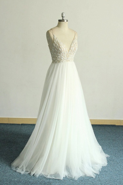 Chic Strap Spaghetti Appliques Tulle Wedding Dress_4